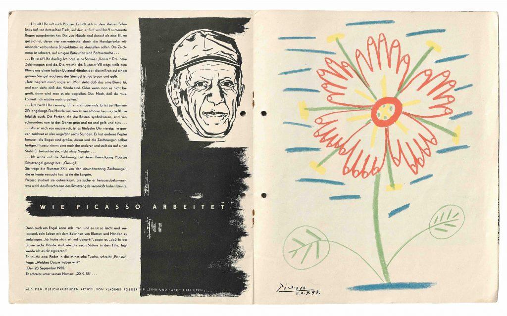 Pablo Picasso design of an advertising pamphlet for Lied der Ströme in 1957.